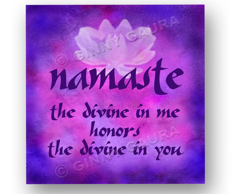 Namaste lotus flower spiritual greeting yoga quote art zoom mightylinksfo