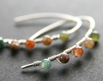 Multicolored Agate Wrapped Sterling Silver Mini Curve Earrings