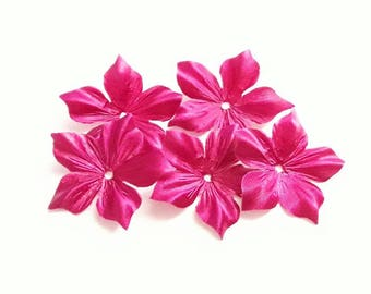 Fleur 1 fuchsia pink silk satin for jewelry, scrapbooking, card making, sewing individually