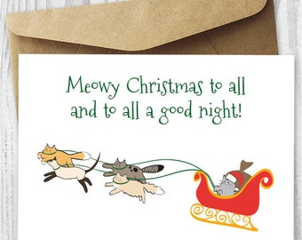 Cat Christmas Card, Funny Cats Christmas Card, Printable Card, Santa Cat Card DIY, Meowy Christmas Card Instant Download