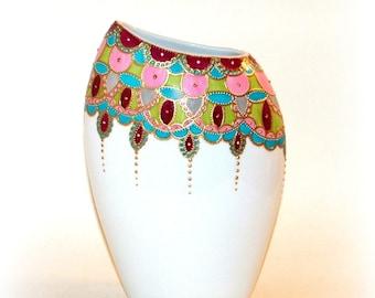 Modern porcelain vase handpainted Bohemian collection