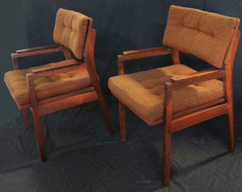 Vintage Set of Two Brown Walnut Wood Frame Tufted Arm Side Office Chairs