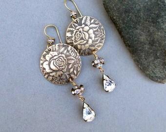 On Sale : Bronze Earrings Vintage Style Flower Earrings with Clear Crystal Drop Earrings Victorian Rose Floral Pattern Long Dangles Bronze
