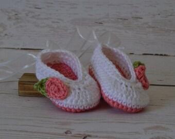 Crochet ballet slippers, crochet baby shoes, ballet shoes, baby ballet slippers, baby shoes, newborn shoes
