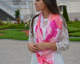 Silk scarf hand painted, pink floral scarf, pink scarves