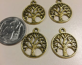 Gold tree charms