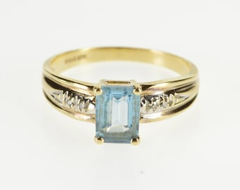 10K Emerald Cut Blue Topaz Diamond Accented Ring Size 6 Yellow Gold
