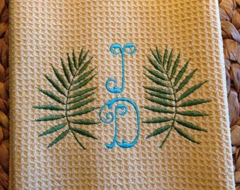 Palm Branches with Initials - Microfiber Waffle Weave Kitchen Hand Towel