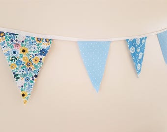 Fabric Bunting - 3  m/10  ft  with 15 flags - Blue Yellow  Cotton Bunting  Nursery Decor Baby ShowerGardenparty Caravan Summer House