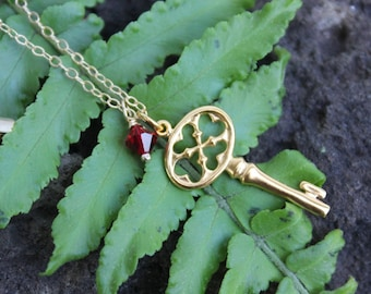 Key to success necklace - 22k gold plated bronze key pendant & Swarovski crystal in birthstone colors, 14k gold filled chain