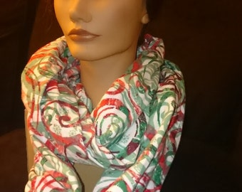 Infinity Scarf - Red and Green Flannel Infinity Circle Mobius Scarf