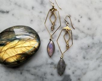 Brass geometric dangles with labradorite