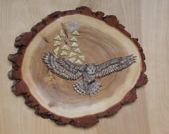 Owl Wood Wall Art Decor, Carved Wood Wall Art, Reclaimed Wood Wall Art, Owl Home Decor, Wood Carving, Live Edge Wood, Hand Painted