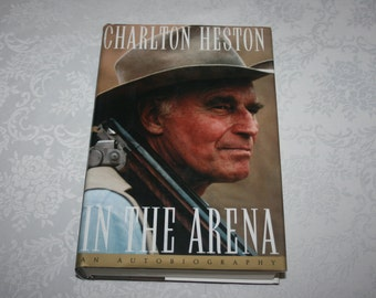 Vintage Autobiography Charlton Heston In The Arena 1995 Hard Cover Dust Jacket