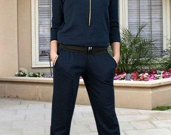 Dark blue  jumpsuit Office jumpsuit Autumn jumpsuit Navy blue jumpsuit Business women overalls Office Fashion overalls Spring jumpsuit