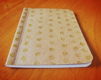 Handmade Gold Painted Dots Notebook, Pocket Journal, Original Mini Diary and Jotter, Illustrated Notebook
