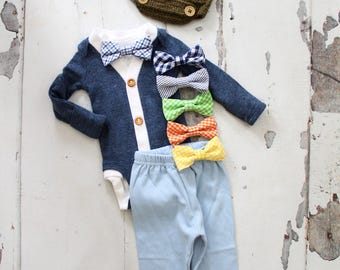 Newborn Baby Boy Coming Home Outfit Set up to 4 Items Cardigan/ Bodysuit, Bow Tie Bodysuit, Baby Blue Pants & Knit Newsboy Hat Christmas Set