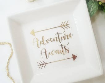Personalized Ring Dish / Ring Holder / Customized Ring Dish / Adventure Awaits Dish / Engagement Gift / Personlized Gift / Bridal Shower