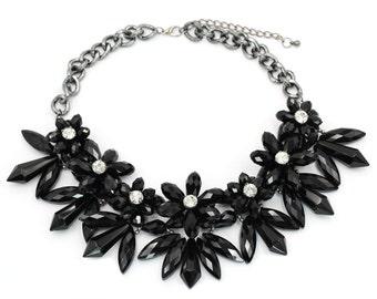 Elegant black crystal flower necklace