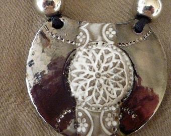 Adjustable ceramic bib necklace silver European beads