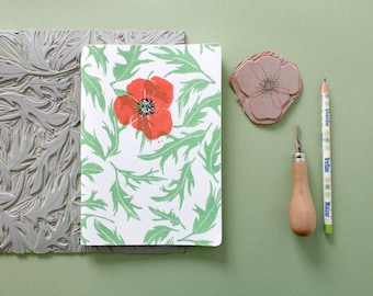 A5 notebook poppy and leaves. 40 blank pages.  Linocut. Pressing 2 colors. Red and green.