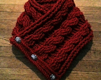 Crochet cable knit cowl