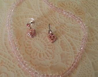 Sale price 5.00, Girls pink crystal neclace and earring set, Pink heart shaped rhinestone pendant, Pink post earrings!
