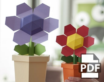 Pot Flower - DIY Papercraft Kit (Instant Download)