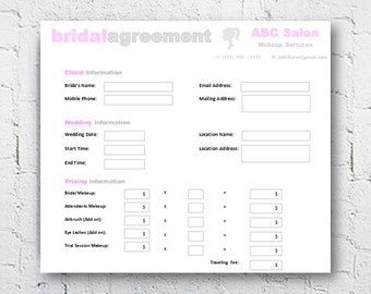 Hair Stylist Makeup Artist Bridal Agreement Contract - Microsoft word invoice template mac online yarn stores