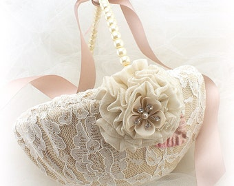Champagne and Rose Blush Wedding Flower Girl Basket, Vintage Style Flower Basket with Lace and Pearls