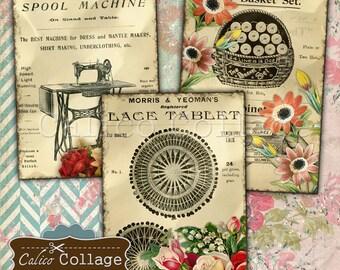 Sew Vintage 2.5x3.5 ATC Size Tags, Journaling Spots, Sewing Ephemera, Printable Vintage, Digital Collage Sheet, Printable Paper,