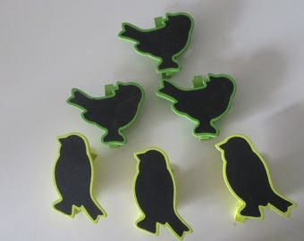 set of 6 clothespins in wood and slate with birds