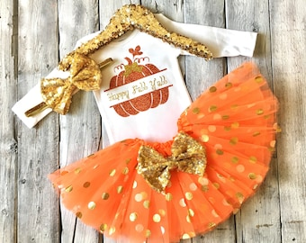Baby girl fall outfit, Its fall yall outfit, girls thanksgiving outfit, girls halloween outfit, Happy fall yall bodysuit, orange gold fall