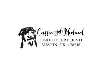 Self Inking or Wood Dog Breed Animal Personalized Custom Return Address Rubber Stamp Stationery Breed Collie Shepherd Home Sweet Home