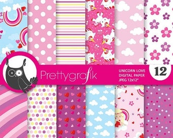 80% OFF SALE Valentine digital papers, valentine unicorn commercial use, unicorn scrapbook papers, valentine papers, background - PS840