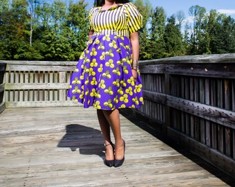 Yellow and Purple Petals and Stripes African Print swing dress