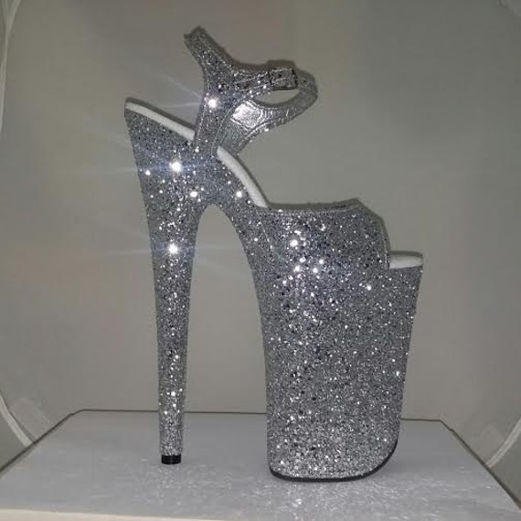 Exotic Pole Dance Stripper Shoes 9 Inch Sexy Silver Glitter-6104