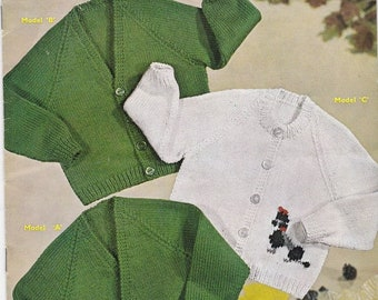 ON SALE Sirdar Knitting Pattern No 257 for Childrens Cardigans, Jackets  - Vintage 1970s