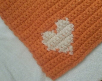 Crochet Heart Corner Cat/Sm Dog/Pet Blanket/Bed/Mat/Rug 18 inch Free Shipping