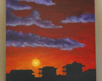 "Sunset Over Beach Houses Original Acrylic Painting 8"" x 10"""