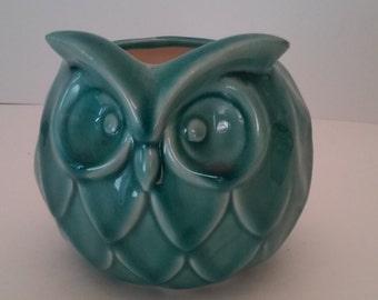 Aqua Ceramic Owl Planter- SALE
