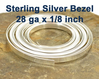 """28ga x 1/8"""" Sterling Silver Bezel Wire - Choose Your Length"""