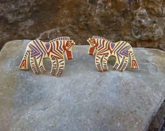 "Laurel Burch Vintage ""Wild Zebra"" Cloisonné Enamel Pierced Earrings"