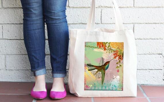 Hummingbird Tote Bag - Reusable Shopper Bag - Farmers Market Bag - Cotton Tote Bag - Shopping Bag - Reusable Grocery Bag, Printed in USA