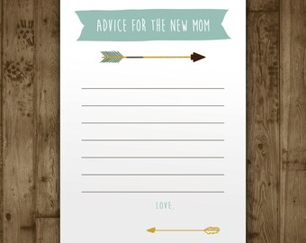 Baby Shower Advice Card - Boys Adventure Arrows
