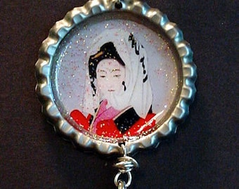 Altered Art Bottle Cap Necklace - Oriental Lovely - Art by ruby