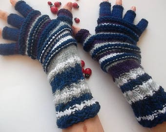 Women Size XL 20% OFF Ready To Ship Half Fingers Wool Mittens Wrist Warmers Men Winter Unisex Gloves Hand Knitted Striped Multicolor 1279