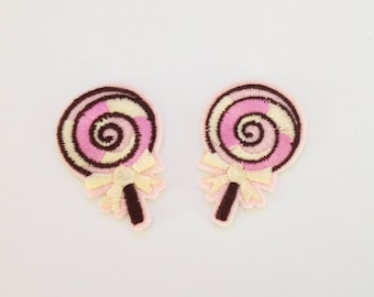 2 pieces lollipop patch Small sweet patch Mini lollipop iron on patch