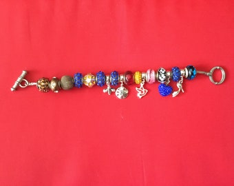 Bead charm bracelet, earrings, and fun ring