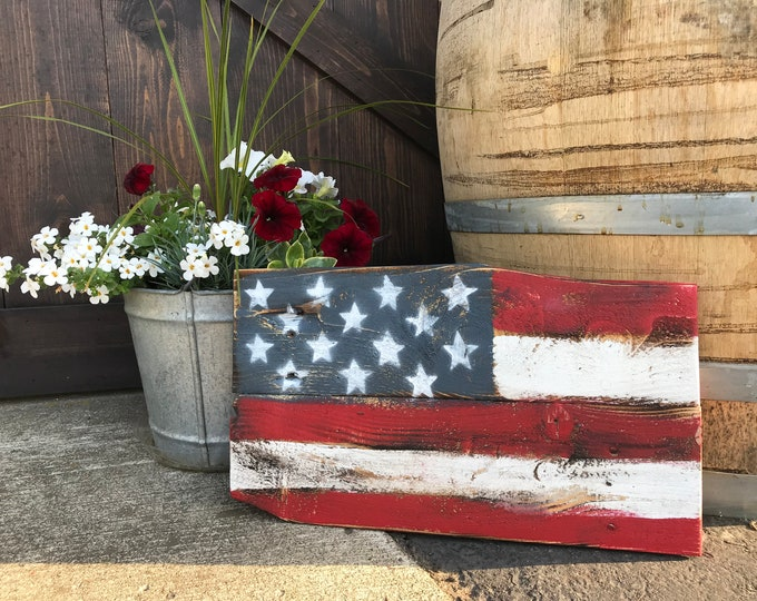 Rustic Distressed Farmhouse Style USA Wooden Flag, Front Door Entry Way Sign, Fixer Upper Home Decor, Country American Flag, Shabby Chic